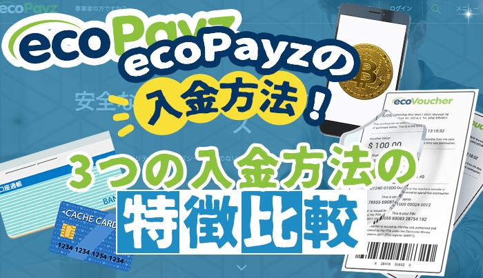 ecoPayz(エコペイズ)の入金方法!3つの入金方法の特徴比較