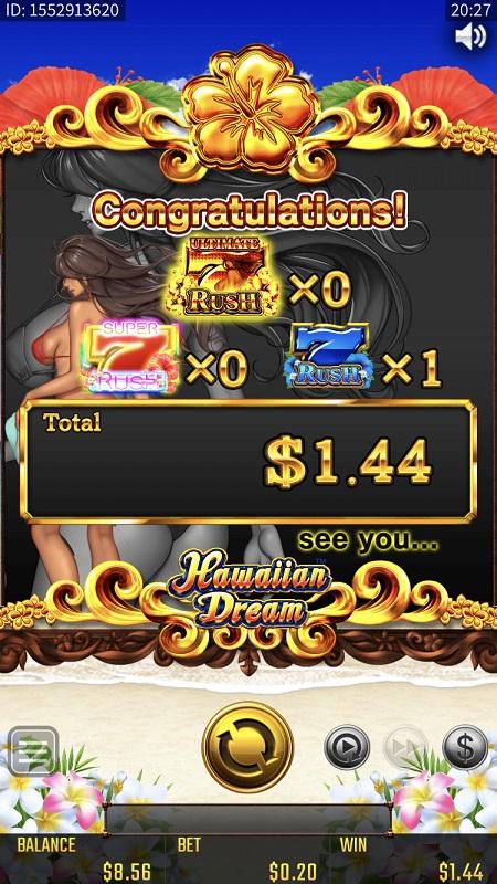 ハワイアンドリームのプレイ画面