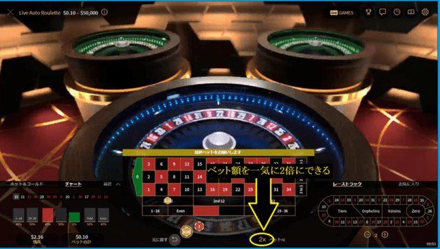 オートルーレットの「×2」ボタン