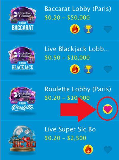 Evolution Gamingのライブルーレット「Roulette Lobby(Paris)」をお気に入り登録