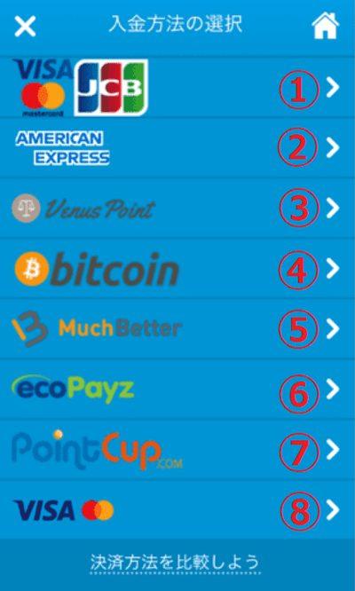 入金方法の一覧