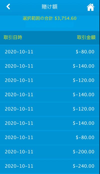 ベラジョンカジノでは賭け金額の履歴が確認できる